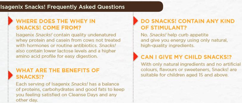 Isagenix Snacks FAQs