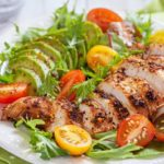 Healthy salad plate with tomatoes, chicken breast and avocado