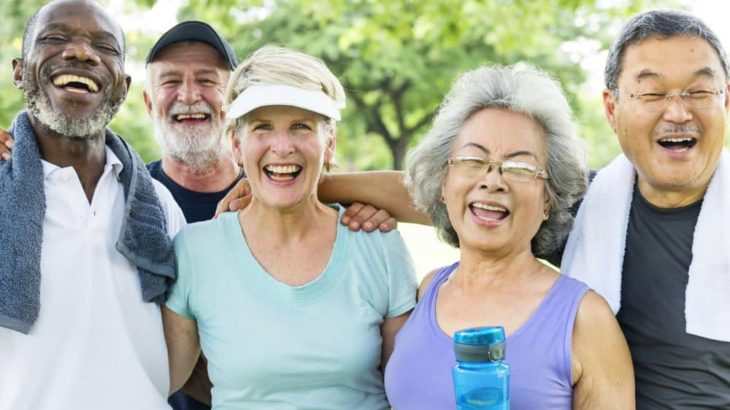 Relaxed group of seniors after exercising.